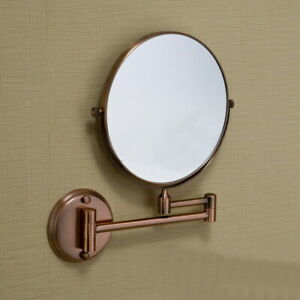 Antique Red Copper Double Side Folding Makeup Mirror Wall Mounted 3x Magnifying