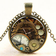 Vintage Compass watch Cabochon Bronze Glass Chain Pendant Necklace #2