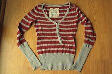 Womens Mossimo Supply Co. Burgundy Gray Striped Wool Angora Henley Sweater XS