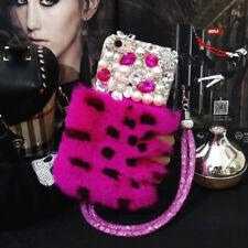 Hot Luxury Bling Diamond Pearl Fuzzy Fluffy Rabbit Fur Soft Case Cover & Lanyard