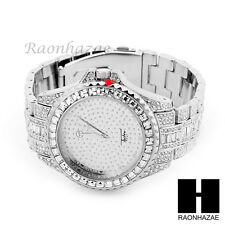NEW MEN'S ICED OUT LUXURY BLING HIP HOP WHITE GOLD PT WRIST DRESS WATCH MM013S
