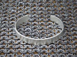"Men's Gents Solid 925 Sterling Silver Open ""Matte Look"" Torque, Bangle, Bracelet"