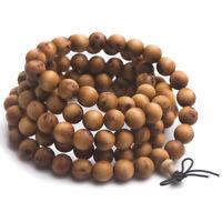 Mara oración Granos De Madera Natural Budda Pulsera de abalorios