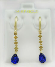 TANZANITE 1.84 Cts DANGLING EARRINGS 14K YELLOW GOLD * New With Tag *