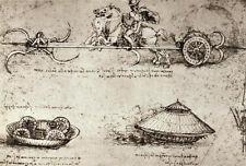 Leonardo Da Vinci Military Inventions Sketches Rennaissance Print Poster 18x13