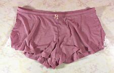 NWT VICTORIA'S SECRET Sleep Lounge Shorts Lace Slit Applique w/ Bow Dusty Pink L