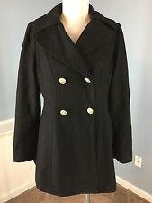 GUESS L Black Wool Blend Coat Excellent double breasted gold button