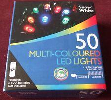 BIANCANEVE. 50 multi-colore luci LED. NUOVO con scatola.