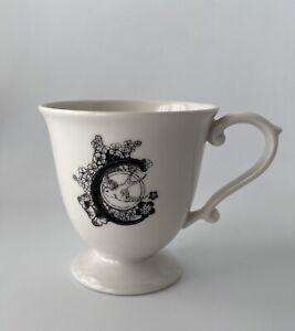 "ANTHROPOLOGIE  Monogram Initial ""C"" Bird Floral Coffee Mug Cup Glass"