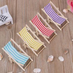 Beach Chair Folding Stripe Deck Sunbathing Toy Doll Miniature Furniture