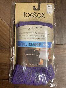 New TOESOX Women's Men's ANKLE Full Toe Grip Toe Socks (PURPLE) Medium