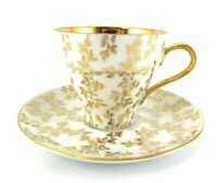Bareuther DEMI TEA CUP and SAUCER Waldsassen Gold Leafs on White Bone China