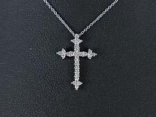 Diamante Croce ciondolo 14K rotondo in oro bianco 0.30ct CT G SI1 COLLANA 45.7cm