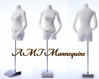 Female mannequin torso w/ pinnable body, arms + hands white body, dress form-RB