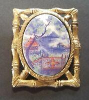 Vintage PAGODA BROOCH PIN Gold Tone Metal RETRO JEWELRY Japanese Garden
