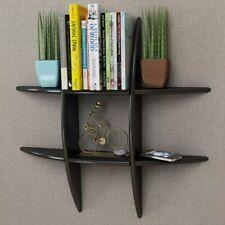 MDF Floating Cubes Wall Storage Book CD Display Shelf Black