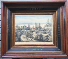 Original Currier & Ives Lithograph New York Bay 1860 Antique Victorian Frame
