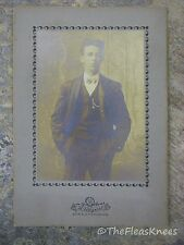 Antique Cabinet Card Photo EDWARDIAN Bow Tie Young Man in ST LOUIS MO