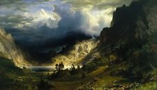 A Storm in the Rocky Mountains by Albert Bierstadt Giclee Canvas Print