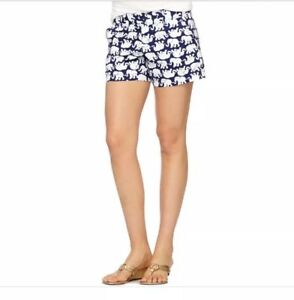 Lilly Pulitzer Womens Size 0 Elephant 5 Inches Inseam Shorts In White And Blue