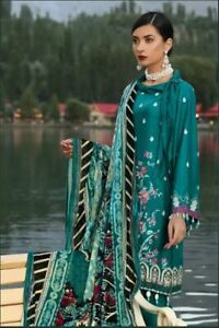 Gul Ahmed 2019-Velvet Dupatta Twill linen Stitched In Medium size Teal colour