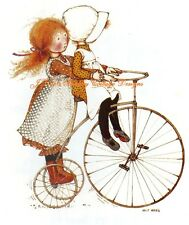Adorable Holly Hobbie & Friend Riding on a  Bicycle Fabric Block 5x7