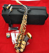 Prof. Black nickel Gold Bell Alto Sax FREE Metal mouthpiece Eb Saxphone Engrave