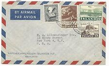 Iceland Scott #278, 249, C28 on Air Mail Cover to New York, USA 1955