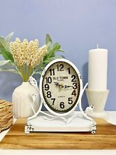 Table Mantle Clock French Provincial French Country Farmhouse Rustic White 22cmH
