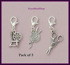 Pack of 3 Knitting Crochet Clip on Stitch Marker Wool Charms Spinning Wheel