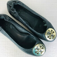 Tory Burch Minnie Travel Ballet Flats Black Leather Logo Front Stretch Heel 8 M