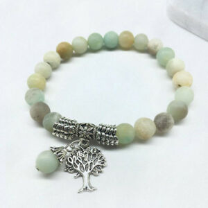 Lebensbaum Amazonit Natur Naturstein Edelstein Perlen Silber Damen Armband