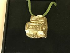"""Slot Machine TG246 English Pewter On 18"""" Green Cord Necklace"""