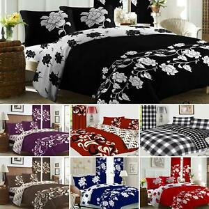 Complete 4Pcs Bedding Set Duvet Cover Fitted Sheet Pillowcase-OR-Curtains