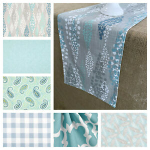Blue Table Runner Teal Turquoise Table Linens Home Decor Table Centerpiece