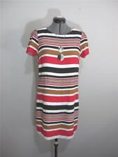 JACQUI E Work Casual Shirt DRESS Sz 8 Red White Black Brown S/S Business