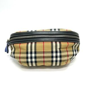 BURBERRY 4074307 Checkered Waist Pouch body bag Canvas x Leather Beige
