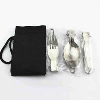 3pcs Stainless Steel Folding Picnic Cutlery Knife Fork Spoon Utensil Camping Kit