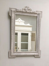 STYLISH FRENCH ANTIQUE PAINTED CARVED WOODEN MIRROR - WITH BOW