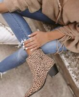 Leopard Animal Print Western Ankle Booties Stacked Heel Womens