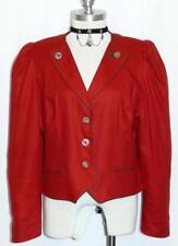 "RED LINEN JACKET Short Coat Designer German Women Dirndl Blazer B40"" Eu42 10 M"