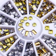 Gold Silver Rivet Nail Studs 3D Nail Art Decoration Wheel Rectangle Round Square