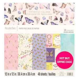 """Recollections """"Butterfly Collage"""" 12X12 SCRAPBOOK PAPER PAD 48 sheets 24 designs"""