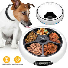 5 Grids Electric Pet Feeder Timed Dog Cat Automatic Food Dispenser Tray Voiced