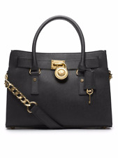New Michael Kors Hamilton Medium East West Satchel Black Gold Saffiano Leather