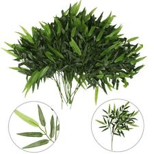 2 Stems Lifelike Artificial Green Bamboo Leaves Leaf Potted Plant Home Decor
