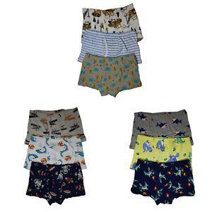9 Pack Cotton Toddler Little Boys Kids Underwear Dinosaur Boxer Briefs 4T 5T-8T