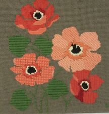 Vintage Needlepoint Embroidery Finished Floral Poppies Wall Hanging