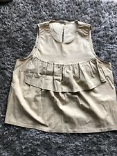 Ladies Beige Cotton Sleeveless Top Size 12-14 (b7)