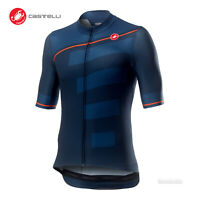 Castelli TROFEO Short Sleeve Full Zip Cycling Jersey : DARK INFINITY BLUE